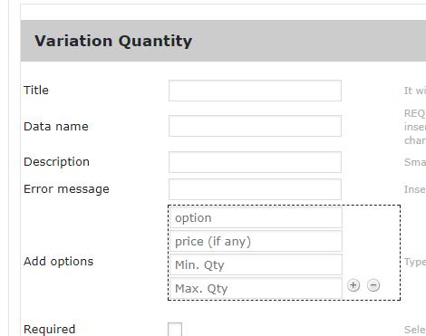 Variation quantity min max validation